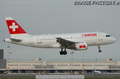 2007-08-24 Malpensa 341 HB-IPR Airbus A319 Swiss International Airlines